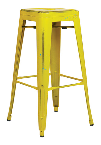 "Tolix Bristow 30"" Antique Metal Barstool, Antique Yellow with Blue Specks Finish, 4 Pack"