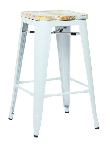 "Tolix Bristow 26"" Antique Metal Barstool with Vintage Wood Seat, White Finish Frame & Pine Irish Finish Seat, 4 Pack"