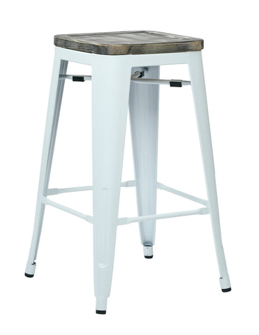 "Tolix Bristow 26"" Antique Metal Barstool with Vintage Wood Seat, White Finish Frame & Ash Crazy Horse Finish Seat, 2 Pack"