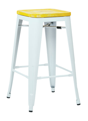 "Tolix Bristow 26"" Antique Metal Barstool with Vintage Wood Seat, White Finish Frame & Ash Yellow Stone Finish Seat, 4 Pack"
