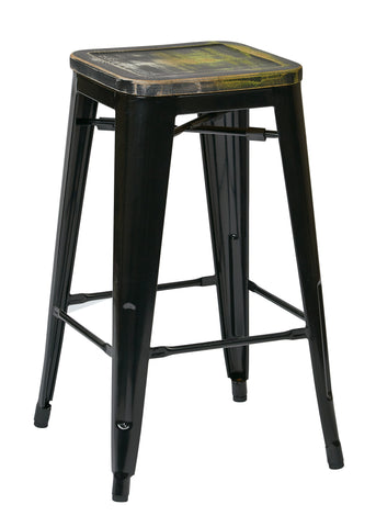 "Tolix Bristow 26"" Antique Metal Barstool with Vintage Wood Seat, Black Finish Frame & Ash Cameron Finish Seat, 4 Pack"