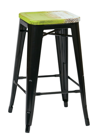 "Tolix Bristow 26"" Antique Metal Barstool with Vintage Wood Seat, Black Finish Frame & Pine Alice Finish Seat, 4 Pack"