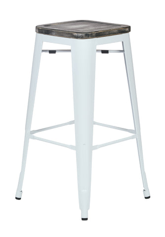 "Tolix Bristow 30"" Antique Metal Barstool with Vintage Wood Seat, White Finish Frame & Ash Crazy Horse Finish Seat, 4 Pack"
