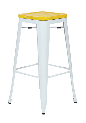 "Tolix Bristow 30"" Antique Metal Barstool with Vintage Wood Seat, White Finish Frame &  Yellow Stone Finish Seat, 4 Pack"