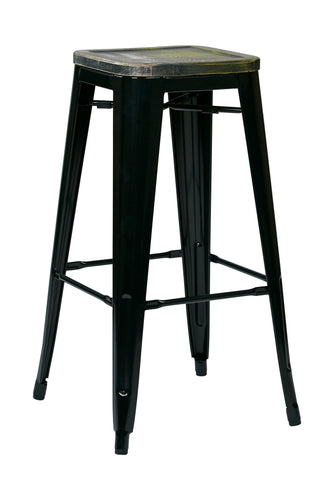 "Tolix Bristow 30"" Antique Metal Barstool with Vintage Wood Seat, Black Finish Frame & Ash Cameron Finish Seat, 2 Pack"