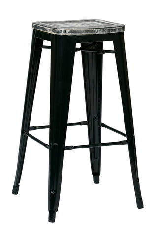"Tolix Bristow 30"" Antique Metal Barstool with Vintage Wood Seat, Black Finish Frame & Ash Crazy Horse Finish Seat, 2 Pack"