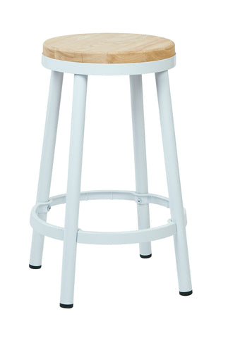 "Tolix Bristow 26"" Metal Backless Barstool, White Finish Frame"