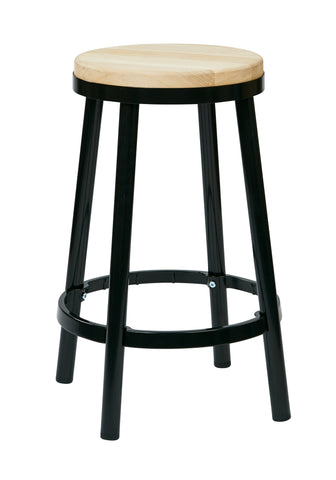 "Bristow 26"" Metal Backless Barstool, Black Finish Frame"