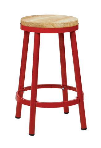 "Bristow 26"" Metal Backless Barstool, Red Finish Frame"