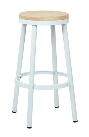 "Tolix Bristow 30"" Metal Backless Barstool, White Finish Frame"