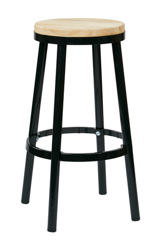 "Tolix Bristow 30"" Metal Backless Barstool, Black Finish Frame"