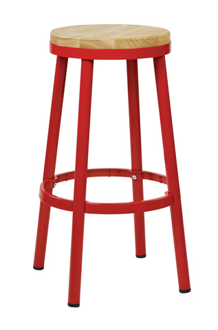 "Tolix Bristow 30"" Metal Backless Barstool, Red Finish Frame"