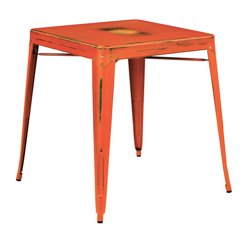 Tolix Bristow Antique Metal Table in Antique Orange  (KD)