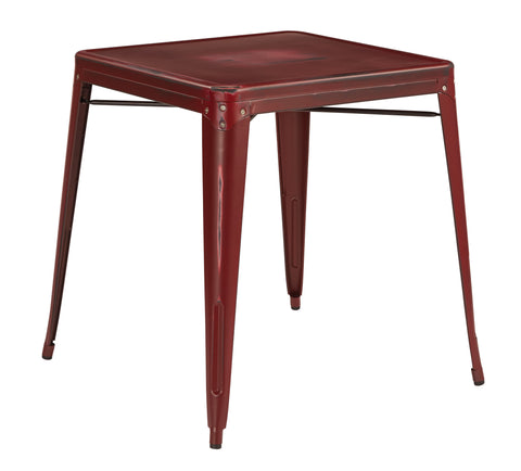 Tolix Bristow Antique Metal Table in Antique Red  (KD)