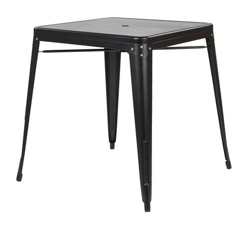 Tolix Bristow Metal Dining with Umbrella Hole Center PlacementTable in Matte Black Finish (KD)