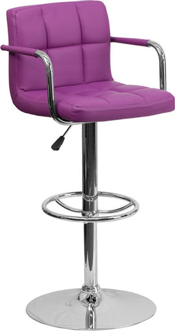 Contemporary Purple Quilted Vinyl Adjustable Height Bar Stool with Arms and Chrome Base