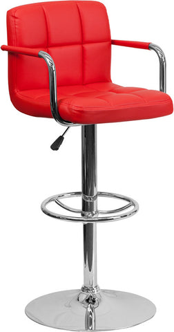 Contemporary Red Quilted Vinyl Adjustable Height Bar Stool with Arms and Chrome Base