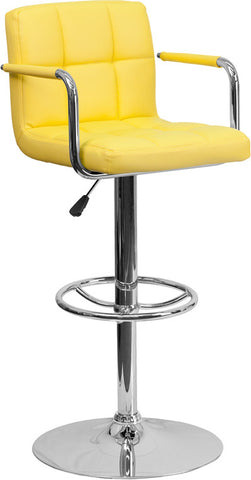 Contemporary Yellow Quilted Vinyl Adjustable Height Bar Stool with Arms and Chrome Base
