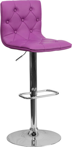 Contemporary Tufted Purple Vinyl Adjustable Height Bar Stool with Chrome Base