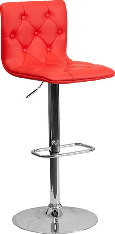 Contemporary Tufted Red Vinyl Adjustable Height Bar Stool with Chrome Base