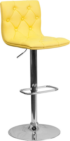 Contemporary Tufted Yellow Vinyl Adjustable Height Bar Stool with Chrome Base