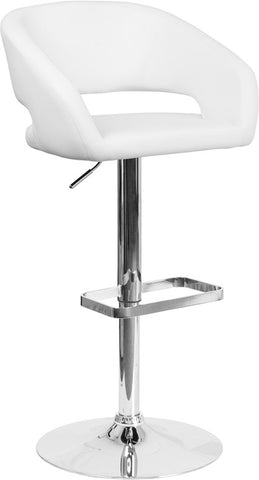 White Vinyl Adjustable Height Barstool with Chrome Base