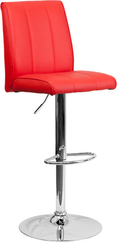 Contemporary Red Vinyl Adjustable Height Bar Stool with Chrome Base