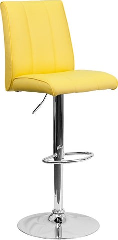 Contemporary Yellow Vinyl Adjustable Height Bar Stool with Chrome Base