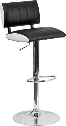 Contemporary Two Tone Black & White Vinyl Adjustable Height Bar Stool with Chrome Base