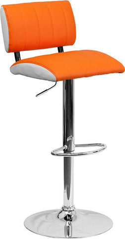 Contemporary Two Tone Orange & White Vinyl Adjustable Height Bar Stool with Chrome Base