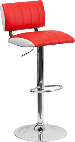 Contemporary Two Tone Red & White Vinyl Adjustable Height Bar Stool with Chrome Base