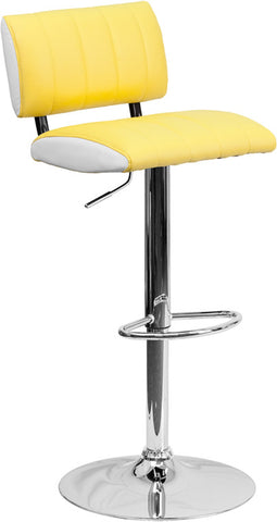 Contemporary Two Tone Yellow & White Vinyl Adjustable Height Bar Stool with Chrome Base