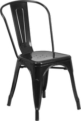 Tolix Style Black Metal Indoor-Outdoor Chair - YourBarStoolStore + Chairs, Tables and Outdoor
