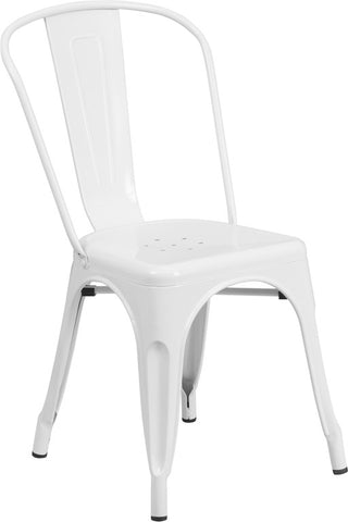 Tolix Style White Metal Indoor-Outdoor Chair