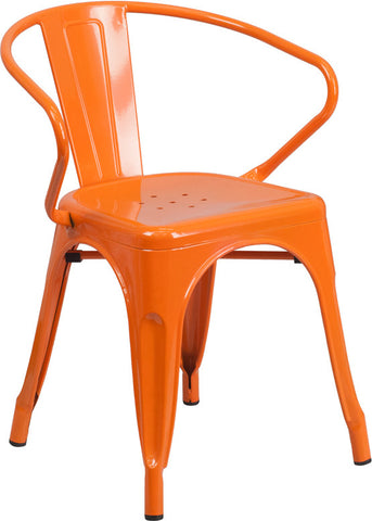 Tolix Style Orange Metal Indoor-Outdoor Chair with Arms