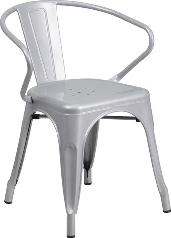 Tolix Style Silver Metal Indoor-Outdoor Chair with Arms