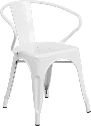 Tolix Style White Metal Indoor-Outdoor Chair with Arms