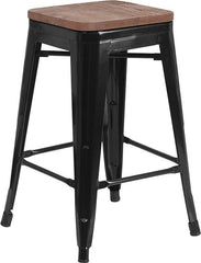 "24"" High Backless Tolix Counter Height Stool with Square Wood Seat - Black"