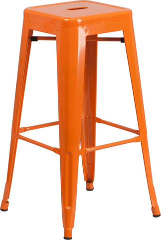 Tolix Style Backless Orange Metal Indoor-Outdoor BarStool