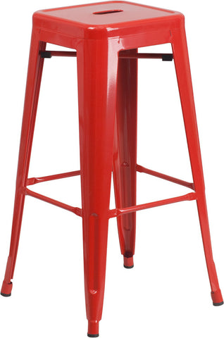 Tolix Style Backless Red Metal Indoor-Outdoor BarStool