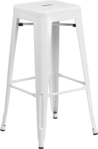 Tolix Style Backless White Metal Indoor-Outdoor BarStool