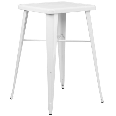 Square White Metal Indoor-Outdoor Bar Height Table
