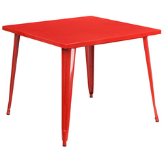 Tolix Style 35.5'' Square Red Metal Indoor-Outdoor Table - YourBarStoolStore + Chairs, Tables and Outdoor