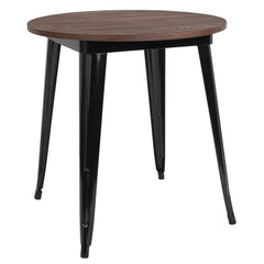 "26"" Round Black or Silver Tolix Indoor Table with  Wood Top - Black"