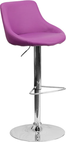 Contemporary Purple Vinyl Bucket Seat Adjustable Height Bar Stool with Chrome Base