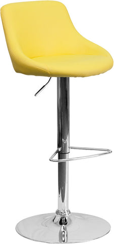 Contemporary Yellow Vinyl Bucket Seat Adjustable Height Bar Stool with Chrome Base