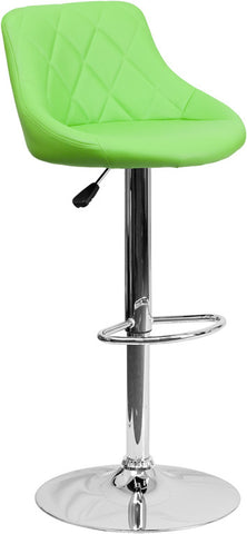 Contemporary Green Vinyl Bucket Seat Adjustable Height Bar Stool with Chrome Base