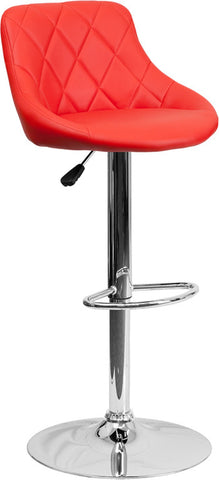 Contemporary Red Vinyl Bucket Seat Adjustable Height Bar Stool with Chrome Base