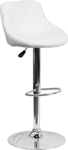 Contemporary White Vinyl Bucket Seat Adjustable Height Bar Stool with Chrome Base