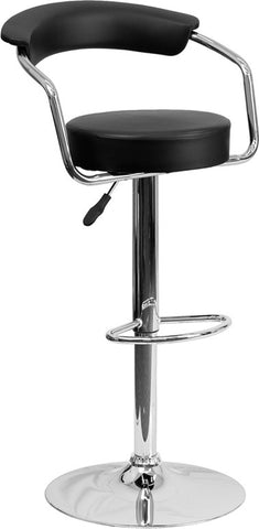 Contemporary Black Vinyl Adjustable Height Bar Stool with Arms and Chrome Base